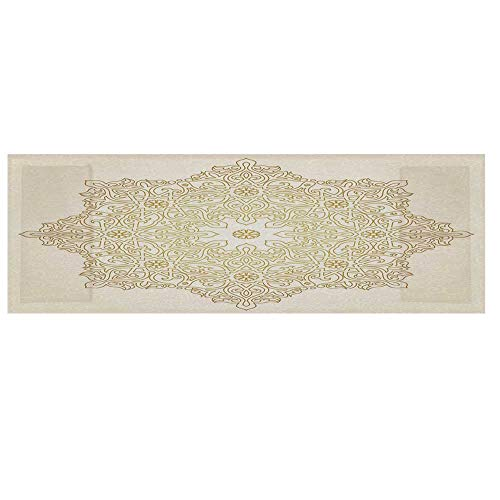 "Gold Mandala Cotton & Linen Microwave Oven Protective Cover,Antique Lace Pattern Blooming Asian Garden Theme Filigree Style Traditional Decorative Cover for Kitchen,36""L x 12""W ()"