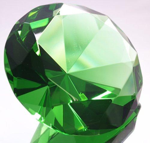 Oriental Jade 100mm Crystal Diamond Jewel Paperweight by