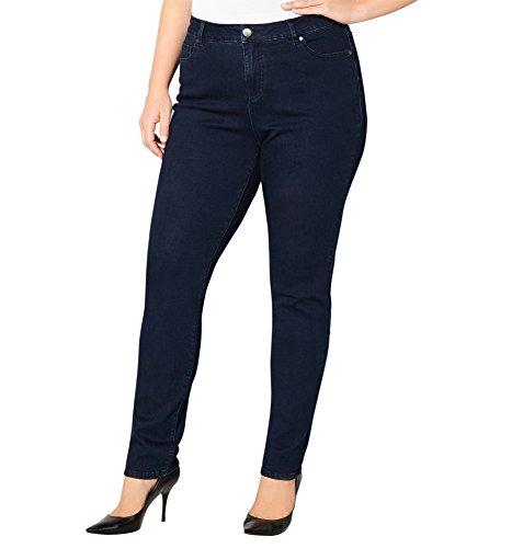 AVENUE Women's Slimming Solutions Skinny Jean with Tummy Control (Dark Wash), 18 Dark Wash