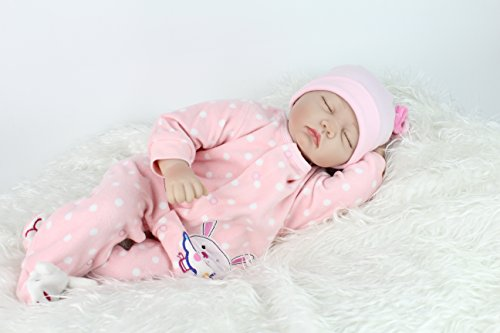 """22"""" Reborn Newborn Baby Doll Realistic Lifelike Handmade Weighted Baby for Ages 3+, Soft Silicone Vinyl"""