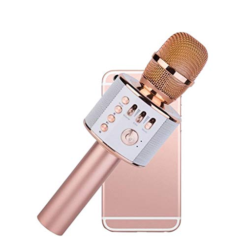 - Opef Wireless Bluetooth Karaoke Microphone, 3-in-1 Portable Handheld Mic Speaker Machine for iPhone Android Phone (Rose Gold)