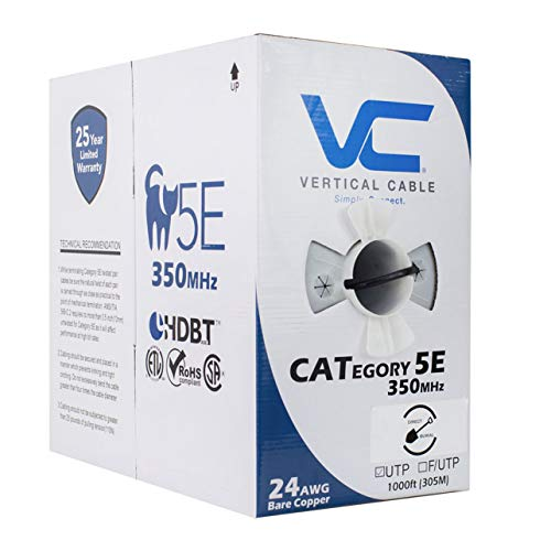 (Vertical Cable Cat5e, 350 Mhz, UTP, Gel Filled (Flooded Core), Direct Burial, 1000ft, Black, Bulk Ethernet Cable)
