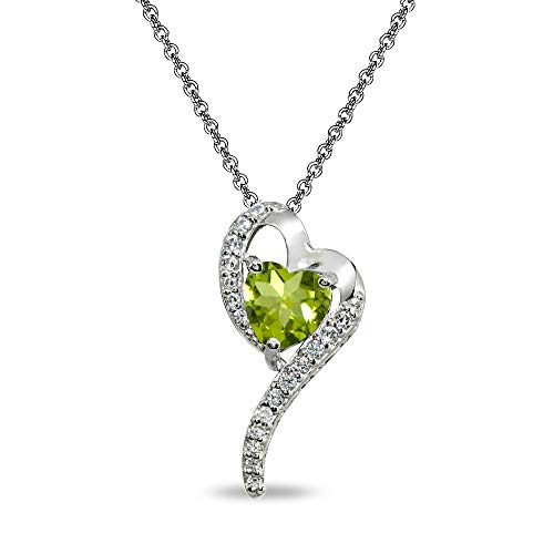 Sterling Silver Peridot Heart Slide Pendant Necklace with Cubic Zirconia Accents
