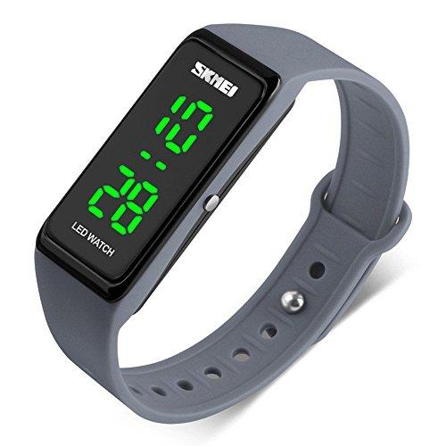 SKMEI LED Sport Digital Wrist Watch 50M Waterproof for Kids Boys Girls Men Women Silicone Bracelet Watch (Grey)