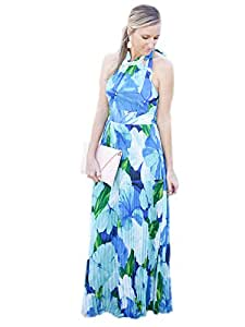 Joshua G Smith's Shop Sleeveless Floral Halterneck Backless Maxi Dress Blue 5949949J0NW252107TY Size M