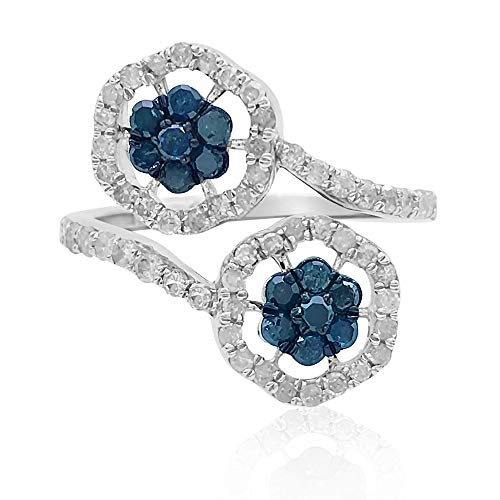 (1.00 Cttw Round Cut Blue & White Natural Diamond Floral Engagement Wedding Ring in Sterling Silver)