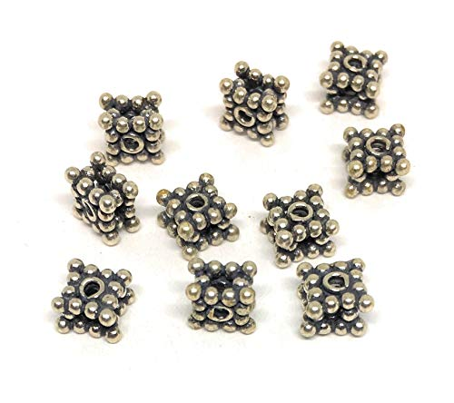 (10 Sterling Silver Bali Stacked Square Spacer Beads 5mm)