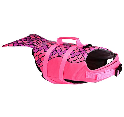 ket, Adjustable Pet Safety Floatation Vest Life Preserver for Swimming/Boating/Beach Playing, Two Cute Patterns Available (S, Hot Pink Mermaid) ()