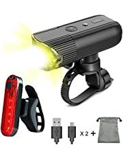 LED Bike Lights Set - Ownmax USB Rechargeable Headlight 2000 mAh Safety Power Bank Waterproof Front and Rear bike lights For Bike, Mountain Bike, Road bike, Light Bike Night Rider, Including 5 Modes 1000 Lumen Super Bright Headlight (360°rotatable) and 4 Modes Taillight, Tool-Free Mount Brackets, Heavy-Duty 100% Weather Proof