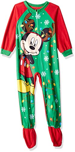(Disney Boys' Toddler Mickey Mouse Holiday Fleece Footed Blanket Sleeper, Festive red, 4T )