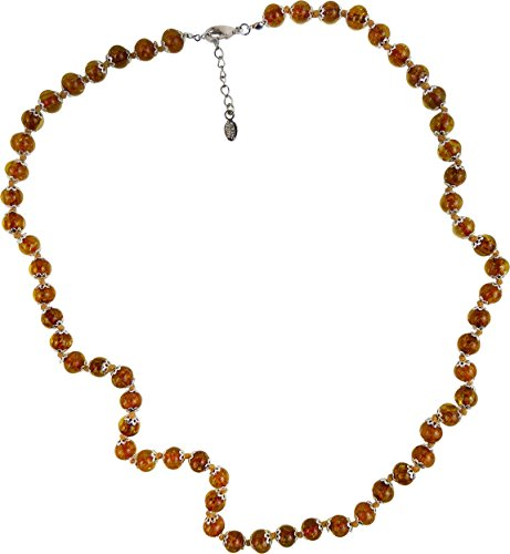 Authentic Venetian Bead Necklace 26 Inches +2 Extension Autumn Brown Murano Glass, Silver Tone Clasp