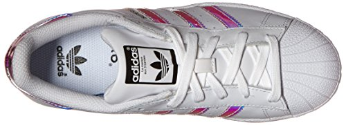 adidas Originals Kid's Superstar J Shoe, White/White/Metallic Silver, 4 M US Big Kid by adidas Originals (Image #8)