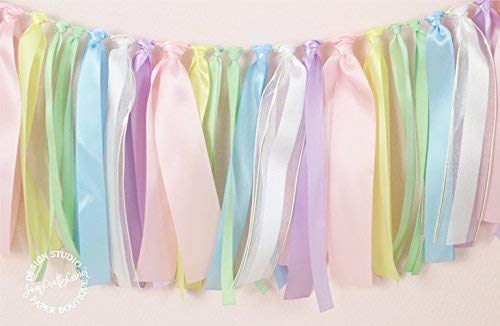 Rainbow Highchair Banner and Ribbon Fabric Garland : Rainbow Unicorn First Birthday 4