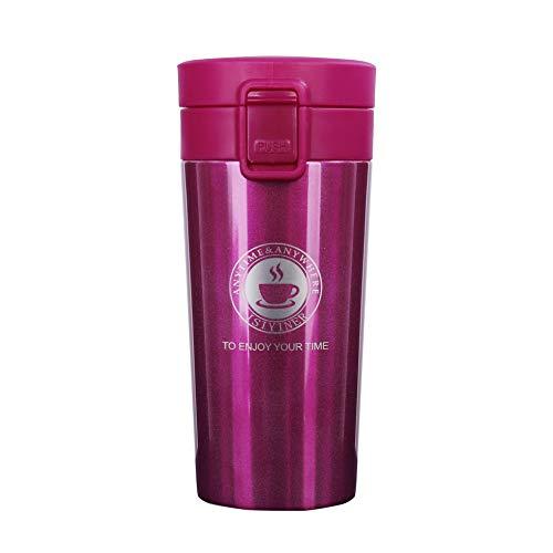 QIMEI-SHOP Termo,Termo de Cafe Matraz de Acero Inoxidable Aislado Diseno a Prueba de Fugas para Bebidas Frias y Calientes Bebidas te Cafe Agua 380ML Rosa roja