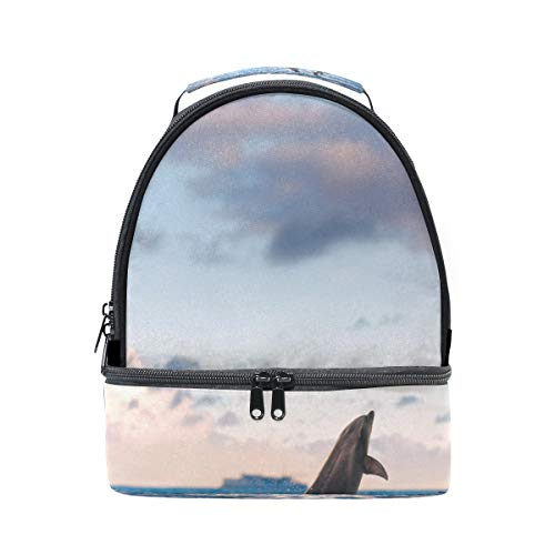 almuerzo agua picnic con correa para doble 2 Cooler Oceanview para niña ajustable Cloudscape en Bandolera Dolphins Play qwHpRF