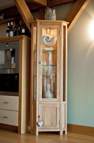 Somerset - Mobile angolare in legno di quercia, unità con vetro ...