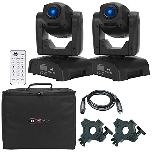 (2) American DJ Pocket Pro High Output Mini Moving Heads with UC-IR Universal Remote Control Package