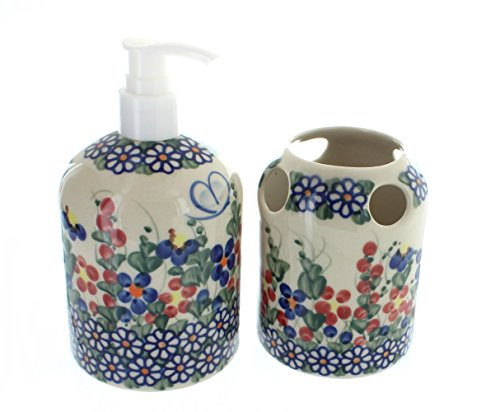 (Polish Pottery Garden Butterfly Soap Dispenser & Toothbrush Holder)