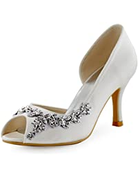 Women Peep Toe Rhinestones Pumps High Heel Satin Evening...