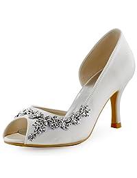 ElegantPark HP1542 Women Peep Toe Rhinestones High Heel Satin Wedding  Bridal Shoes e8e56e167afd