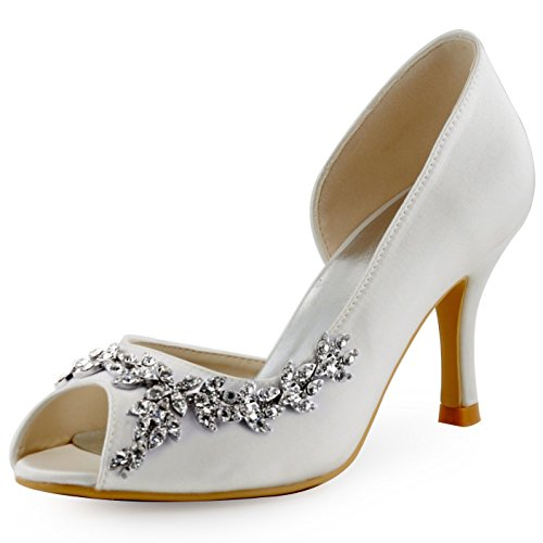 ElegantPark HP1542 Women Peep Toe Rhinestones Pumps High Heel Satin Wedding Bridal Dress Shoes Ivory US 9