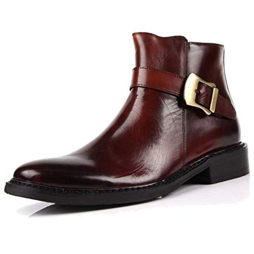 Versione Europea Stivaletti da Uomo Tondi All'aperto Martin Boots Laterali Zipper High-Top Shoes Stylish Brown