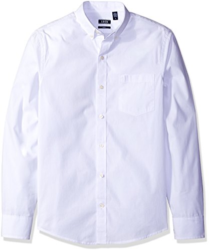 IZOD Men's Essential Solid Long Sleeve Shirt, White, Large Slim - Izod Mens Dress Shirts