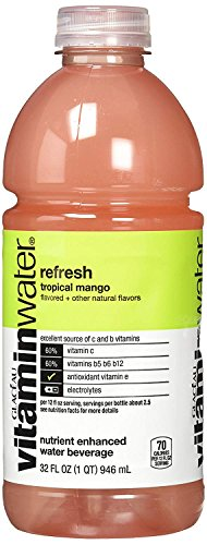 vitaminwater Refresh, Tropical Mango, 32 Oz Bottle (Pack of 6)