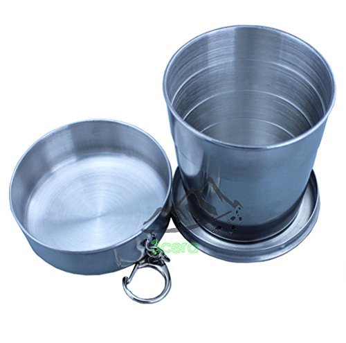 3CERA® Stainless Steel Portable Outdoor Travel Camping Folding Collapsible Cup Metal Telescopic Keychain 240ml x 1pc