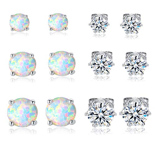 VOLUKA 18K White Gold Plated Created Opal and Cubic Zirconia Stud Earrings Pack of 6