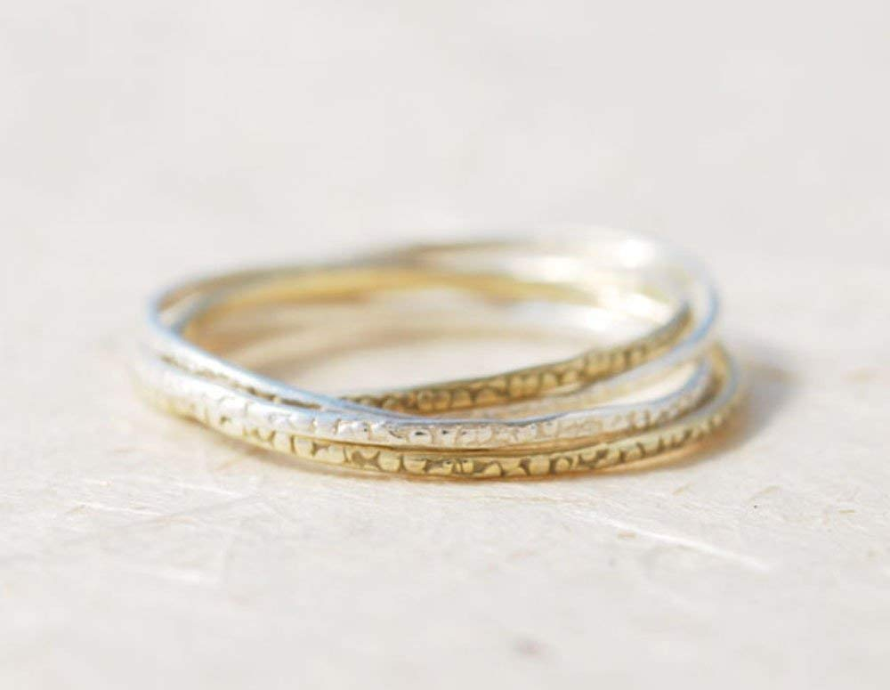 Dotted two tones ring Mixed metals everyday ring Round ring Oxidized silver ring Hammered gold feminine ring Sterling silver and Gold