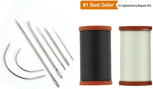 Sale! Upholstery Repair Kit! Coats & Clark Extra Strong Upholstery Thread 1 Naturel Spool, 1 Black Spool (150-Yard) Includes a Set of Heavy Duty Assorted Hand Needles, 7-count - Black White Upholstery Fabric