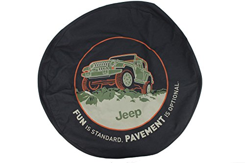 Genuine Jeep Accessories 82210886AB Cloth Spare Tire Cover with Fun Is Standard Emblem Logo (Standard Wheel Cover Emblem)
