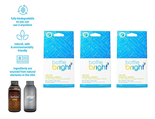 Bottle Bright 3 Pack (36 Tablets) - All Natural, Biodegradable, Chlorine & Odor Free Water Bottle & Hydration Pack Cleaning Tablets