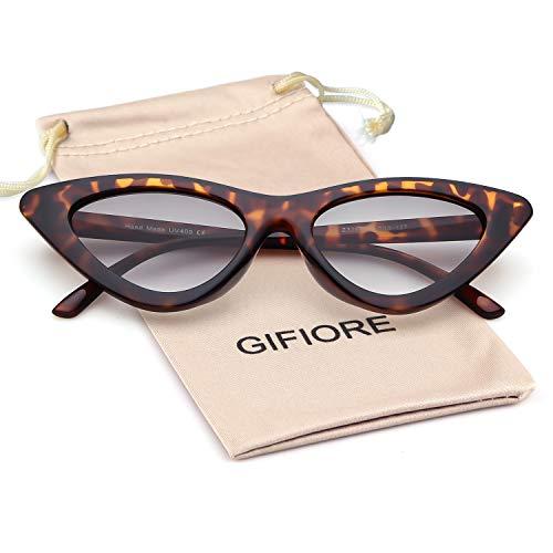Clout Goggles Cat Eye Sunglasses Vintage Mod Style Retro Kurt Cobain Sunglasses (Leopard Frame Smoke Lense, 51)