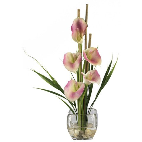 - Calla Lilly Liquid Illusion Silk Flower Arrangement-Pink