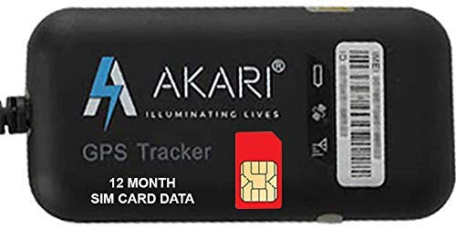 AKARI GPS Tracker GT02A with SIM Card 1 Year Data Plan for Car, Bike,Truck, Real time Tracking with Free One Year Mobile App (Android/iOS Mobile App) License & Sim Data Plan
