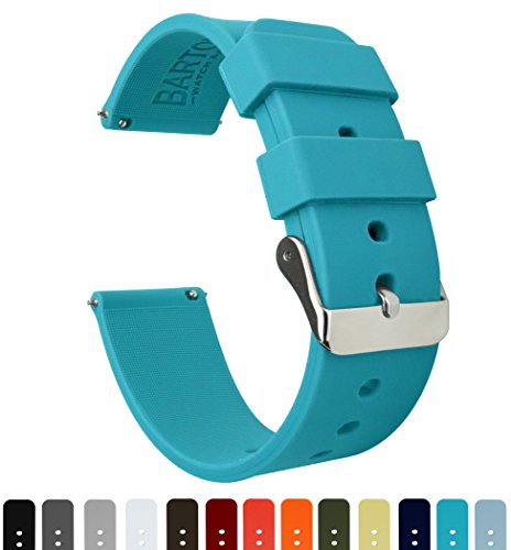 BARTON Silicone Quick Release - 24mm Width - Choice of Color - Aqua Blue 24mm Watch Band (Aqua Womens Watch Band)