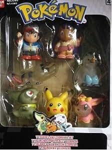 Pokemon Ref. 85093 7 figuras pokemon con Diorama;Ash, Sacha, Pikachu, Axew, Swanna, Deerling y Sandile