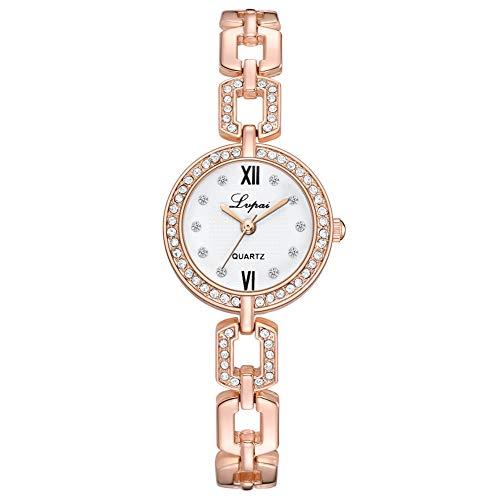 (adonpshy Women's Watch&Women Roman Numerals Rhinestone Index Dial Chain Band Analog Quartz Wrist Watch,a Good Gift for Your Lover)