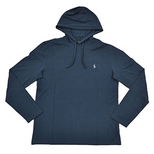 Polo Ralph Lauren Mens Jersey Knit Hoodie Tee (X-Large, Navy Blue)