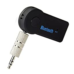 Bluetooth Music Audio Stereo Adapter Receiver for Car 3.5mm AUX Home Speaker MP3 for Car Music Sound System Hands Free Calling Built-in Mic - Black