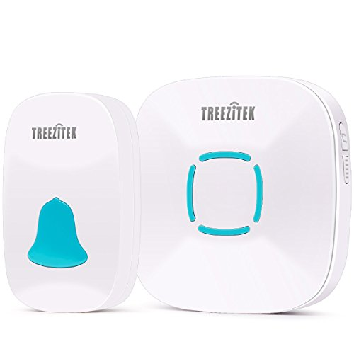 Wireless Doorbell,Treezitek Doorbells Chime Kit for Home w/ 36 Chimes & Adjustable Volume; Waterproof Range Up to 1000ft Operating Sound and LED Flash (1 Receiver&1 Push Button) by Treezitek