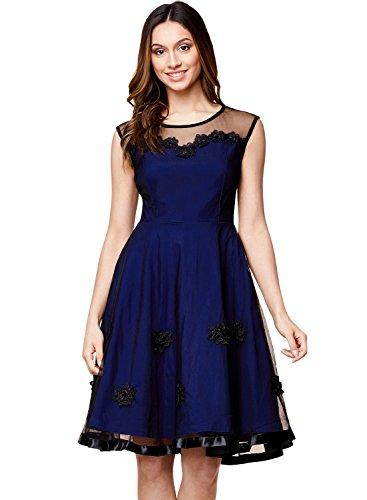 Miusol Women's Elegant Illusion Floral Lace Cap Sleeve Bridesmaid Prom Dress (Medium, Navy Blue)