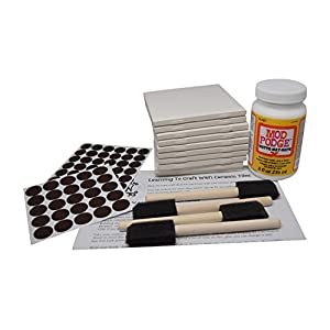 Annys Coaster Tile Kit: Set of 10 Glossy White Ceramic Tiles 4 1/4 By 4 1/4 Each, Exclusive Guide for Tile Crafts, Mod Podge, 4 Sponge Craft Brushes and Felt Pads