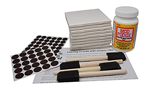 Annys Coaster Tile Kit: Set of 10 Glossy White Ceramic Tiles 4 1/4 By 4 1/4 Each, Exclusive Guide for Tile Crafts, Mod Podge, 4 Sponge Craft Brushes and Felt (Mod Podge Accessories)