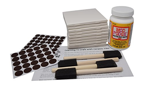 Annys Coaster Tile Kit: Set of 10 Glossy White Ceramic Tiles 4 1/4 By 4 1/4 Each, Exclusive Guide for Tile Crafts, Mod Podge, 4 Sponge Craft Brushes and Felt Pads ()
