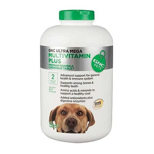 GNC Ultra Mega Multivitamin Plus Beef Flavor 180 Tablets Premium Formula Chewable Tablet by GNC Pets