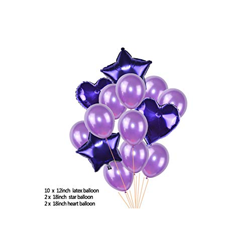 14pcs Multicolor Mixed 12inch Latex Balloon with 18inch Star Heart Foil Balloons Wedding Birthday Party Air Balls Decoration 75,T07