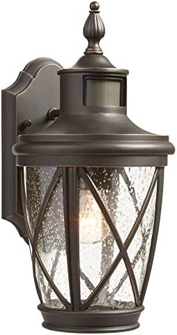 allen roth Castine 13.78-in H Rubbed Bronze Motion Activated Outdoor Wall Light